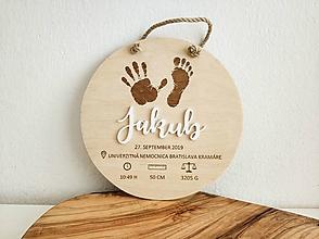 Dekorácie - Personalizovaná tabuľka - údaje o narodení - 11039123_