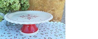 Nádoby - Honosný keramický podnos na dobroty - červený - 11036825_