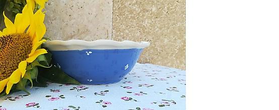 Nádoby - Modrá keramická miska na polievku - 11036815_