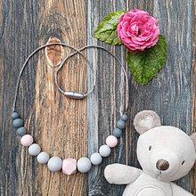 """Náhrdelníky - Silikónový náhrdelník na dojčenie """"Sivá kráska"""" - 11039637_"""