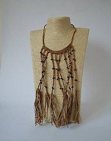 Náhrdelníky - Kožený náhrdelník, šperky v egyptskom štýle - 11037079_