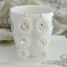 Náušnice - White shimmer - 11039691_