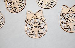 Polotovary - Drevená vianočná guľa s mašľou DREVENÝ VÝREZ - 11036699_
