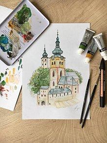 Obrazy - Banská Bystrica watercolor - 11036757_