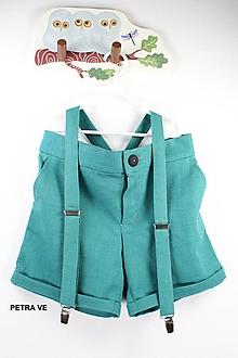Detské oblečenie - Petrol - detské ľanové nohavice, krátke - 11038939_
