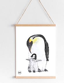 Detské doplnky - Art Print - tučniak cisársky s mláďatkom - 11037917_
