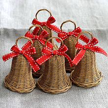 Dekorácie - zvončeky (hnedá + červená) - 11037272_