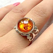 Prstene - Amber in Silver Ring / Prsteň s pravým jantárom v striebornom prevedení - 11042666_