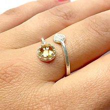 Prstene - Leaf Citrine Ring Silver Ag925 / Strieborný prsteň s citrínom - 11042683_