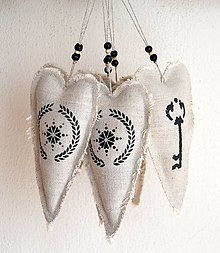 Dekorácie - Ľanové srdiečka-vianočné ozdoby-sada - 11041675_