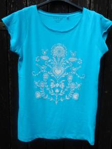Tričká - tyrkysové folk tričko-biely vzor - 11042811_