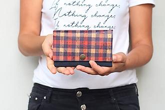 Peňaženky - Korková peňaženka M - modrá + káro - 11040256_