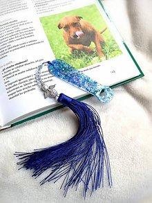 Papiernictvo - Záložka zo živice v darčekom balení  (Modrá) - 11042120_