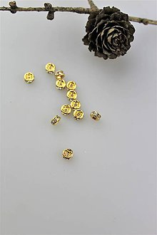 Korálky - korálky zlaté 5mm - rondelky - 11043039_