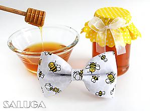 Detské doplnky - Detský sivý motýlik na včielky - včeličky - 11042061_