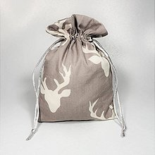 Úžitkový textil - Veselé bavlnené vrecúško (sivé jelene /) - 11043126_
