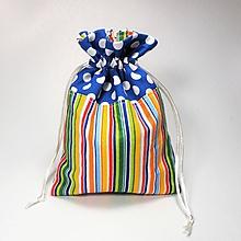 Úžitkový textil - Veselé bavlnené vrecúško (farebné pásiky /) - 11043168_