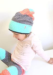 Detské čiapky - čiapka z biobavlny Široké pruhy - 11042545_
