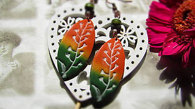 Náušnice - Náušnice farby jesene (4,5 cm x 2 cm - Zelená) - 11042850_
