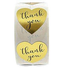 Papier - NA140 Nálepka zlatá thank you 2,5 cm - 11041398_