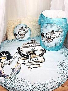 Detské doplnky - Podložka na hranie a kôš na hračky Pirát - 11040088_