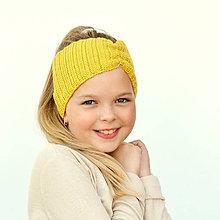 Čiapky - Merino čelenka žltá + 42 farieb - 11042757_