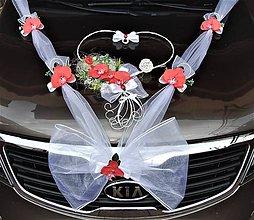 Dekorácie - Svadobná výzdoba na auto-červená - 11041347_