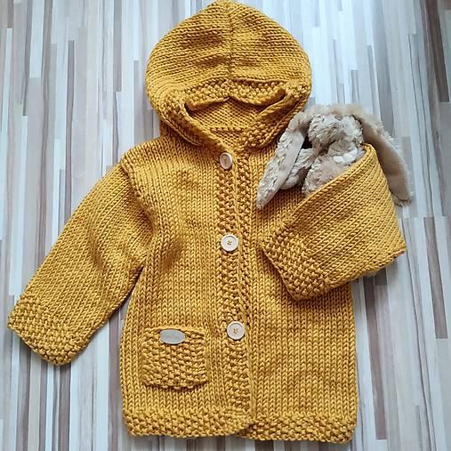 Horčicový kabátosvetrík, dlhší sveter