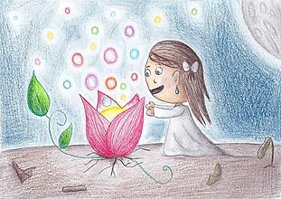 Detské doplnky - Čarovný kvet - detská ilustrácia - 11041879_