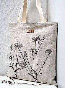 Veľké tašky - Ľanová taška-Suché steblá rastlín - 11044037_