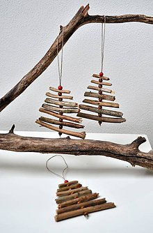 Dekorácie - Drevené stromčeky-natur - 11044692_