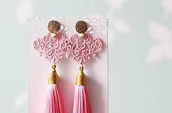 Náušnice - Náušnice so strapcom a čipkou. Baby pink - 11045682_