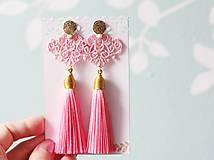 Náušnice - Náušnice so strapcom a čipkou. Baby pink - 11045683_