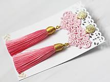 Náušnice - Náušnice so strapcom a čipkou. Baby pink - 11045684_