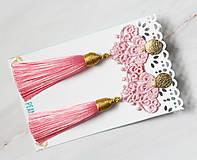 Náušnice - Náušnice so strapcom a čipkou. Baby pink - 11045689_