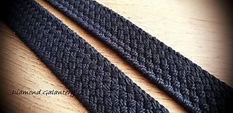 Galantéria - Popruh ozdobný 38 mm - čierny - 11044322_