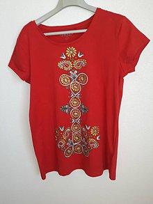 Tričká - Tričko červené, ľudový motív, L - 11044925_