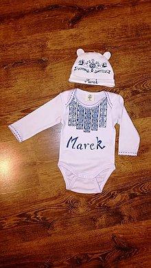 Detské oblečenie - Maľované body modrý folk - 11046394_