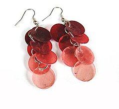 Náušnice - Perleťové strapce červené - 11043770_