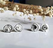 Náušnice - porcelánové náušnice - Ružičky s platinou - 11046231_