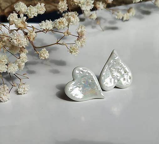 porcelánové náušnice - Srdiečka perleťové - veľké