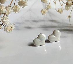 Náušnice - porcelánové náušnice - Srdiečka perleťové - 11046242_