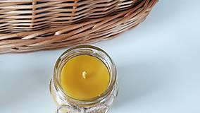 Svietidlá a sviečky - Sviečka z včelieho vosku - sklo - 11044551_