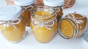 Svietidlá a sviečky - Sviečka z včelieho vosku - sklo - 11044552_