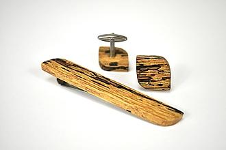 Šperky - Sada manžetových gombíkov so sponou na kravatu - špaltovaný dub, nerez - 11045540_