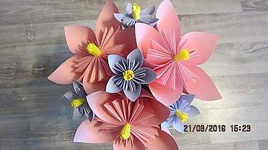 Darčeky pre svadobčanov - Gratulačná kytica na žreby / bankovky - ružová s fialovymi kvietkami - 11043542_