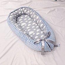 Textil - hniezdo pre bábätko Obláčik, bledomodré - 11045437_