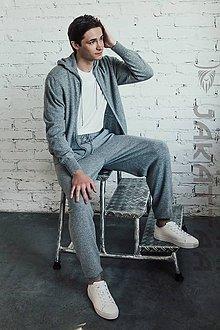 Nohavice - Pánske sivé nohavice - 100% kašmír - 11043880_