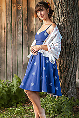 Šaty - modré kvetované šaty (Vajnorský ľudový ornament zo Slovenska) - 11043682_