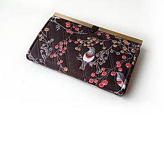 Peňaženky - Peňaženka s priehradkami Vtáčiky a bobuľky - 11045174_